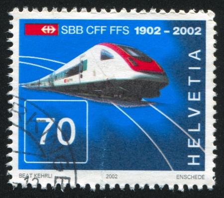 SWITZERLAND - CIRCA 2002: stamp printed by Switzerland, shows Intercity tilting train, circa 2002