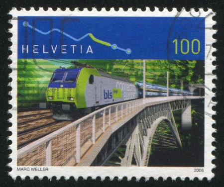 SWITZERLAND - CIRCA 2006: stamp printed by Switzerland, shows Bern Lotschberg Simplon railway, circa 2006