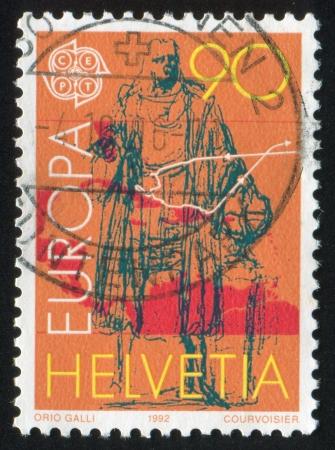 SWITZERLAND - CIRCA 1992: stamp printed by Switzerland, shows Columbus and map of voyage, circa 1992