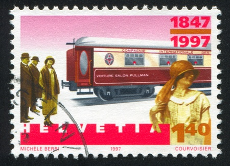 footplate: SWITZERLAND - CIRCA 2000: stamp printed by Switzerland, shows Pullman coach, circa 2000