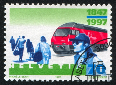 SWITZERLAND - CIRCA 2000: stamp printed by Switzerland, shows Locomotive, circa 2000 Stock Photo - 17809691