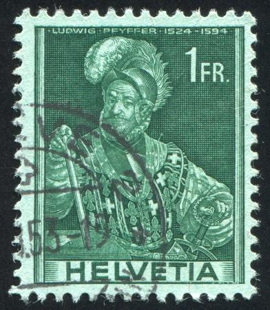 SWITZERLAND - CIRCA 1941: stamp printed by Switzerland, shows Ludwig Pfyffer, circa 1941 Stock Photo - 17838230