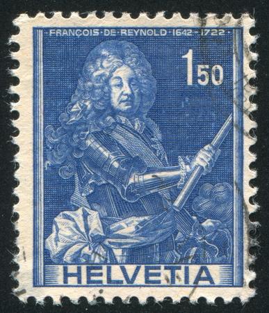 SWITZERLAND - CIRCA 1941: stamp printed by Switzerland, shows Francois de Reynold, circa 1941 Stock Photo - 17838269