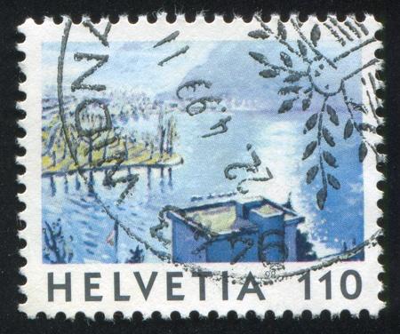 SWITZERLAND - CIRCA 1998: stamp printed by Switzerland, shows Lake, Shoreline, circa 1998 Stock Photo - 17838266