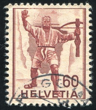 adroitness: SWITZERLAND - CIRCA 1941: stamp printed by Switzerland, shows William Tell, circa 1941