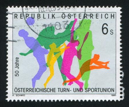 AUSTRIA - CIRCA 1995: stamp printed by Austria, shows silhouettes of sportsmen, circa 1995