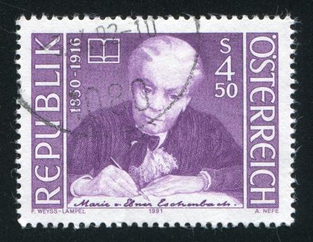 AUSTRIA - CIRCA 1991: stamp printed by Austria, shows Marie von Ebner Eschenbach, circa 1991