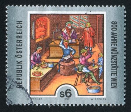 coining: AUSTRIA - CIRCA 1994: stamp printed by Austria, shows Vienna Mint, circa 1994