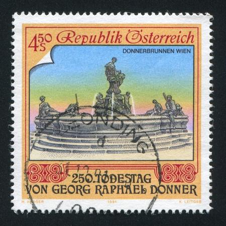 donner: AUSTRIA - CIRCA 1991: stamp printed by Austria, shows Donner Fountain, Vienna, by Raphael Donner, circa 1991