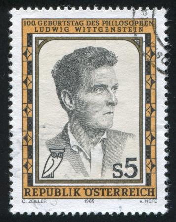 STERREICH - CIRCA 1989: Stempel von Österreich gedruckt, zeigt Ludwig Wittgenstein, circa 1989 Standard-Bild - 18113082