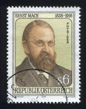 mach: AUSTRIA - CIRCA 1988: stamp printed by Austria, shows Ernst Mach, circa 1988 Editorial