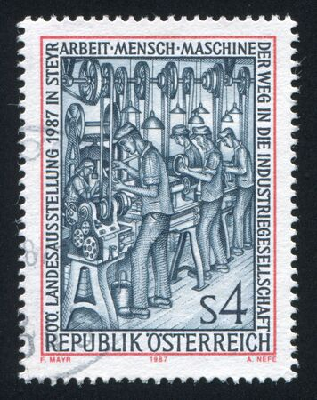 AUSTRIA - CIRCA 1987: stamp printed by Austria, shows Work-Men-Machines, circa 1987
