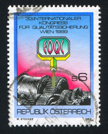 AUSTRIA - CIRCA 1989: stamp printed by Austria, shows sign and asterix, circa 1989 Stock Photo - 18113117
