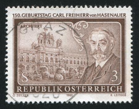 carl: AUSTRIA - CIRCA 1983: stamp printed by Austria, shows Baron Carl von Hasenauer, circa 1983 Editorial