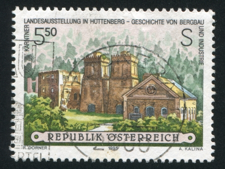 ironworks: AUSTRIA - CIRCA 1995: stamp printed by Austria, shows Blast furnaces, old Heft ironworks, circa 1995 Editorial