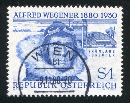 AUSTRIA - CIRCA 1980: stamp printed by Austria, shows Alfred Wegener, circa 1980 Stock Photo - 18113195