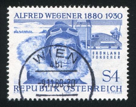 AUSTRIA - CIRCA 1980: stamp printed by Austria, shows Alfred Wegener, circa 1980 Stock Photo - 18113195