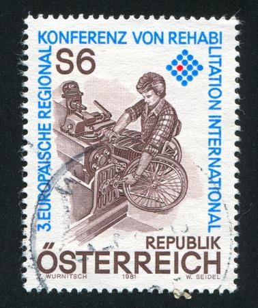 AUSTRIA - CIRCA 1981: stamp printed by Austria, shows Machinist in Wheelchair, circa 1981