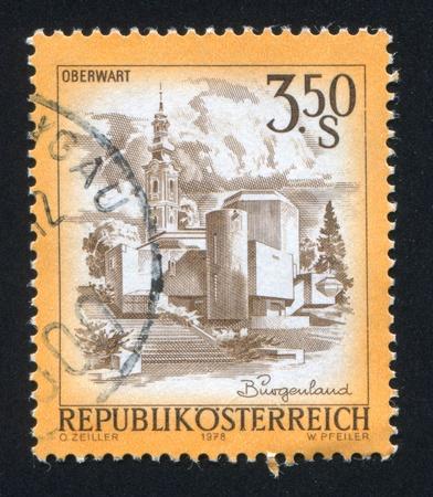 window seal: AUSTRIA - CIRCA 1978: stamp printed by Austria, shows Easter church in Oberwart, circa 1978 Editorial