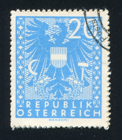 AUSTRIA - CIRCA 1945: stamp printed by Austria, shows ornament and eagle, circa 1945