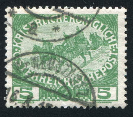 cavalryman: AUSTRIA - CIRCA 1915: stamp printed by Austria, shows Cavalry, circa 1915
