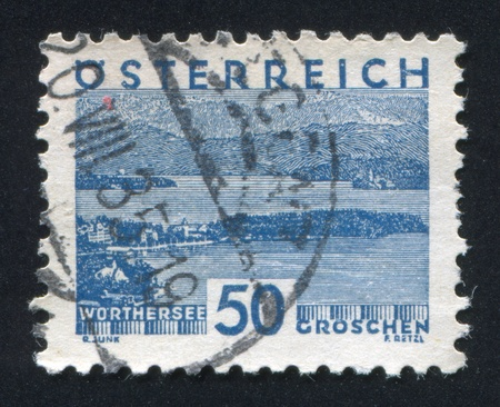 AUSTRIA - CIRCA 1930: stamp printed by Austria, shows Worthersee, circa 1930 Stock Photo - 18113217