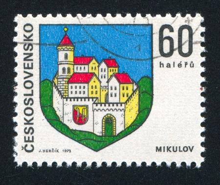 czechoslovakia: CZECHOSLOVAKIA - CIRCA 1973: stamp printed by Czechoslovakia, shows arms of Mikulov, circa 1973