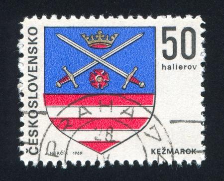 czechoslovakia: CZECHOSLOVAKIA - CIRCA 1969: stamp printed by Czechoslovakia, shows arms of Kezmarok, circa 1969