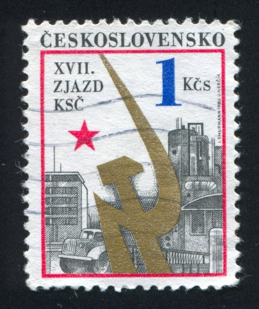 czechoslovakia: CZECHOSLOVAKIA - CIRCA 1986: stamp printed by Czechoslovakia, shows Industry and Communist Party emblem, circa 1986 Editorial