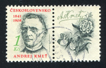 botanist: CZECHOSLOVAKIA - CIRCA 1991: stamp printed by Czechoslovakia, shows Andrej Kmet, botanist, circa 1991