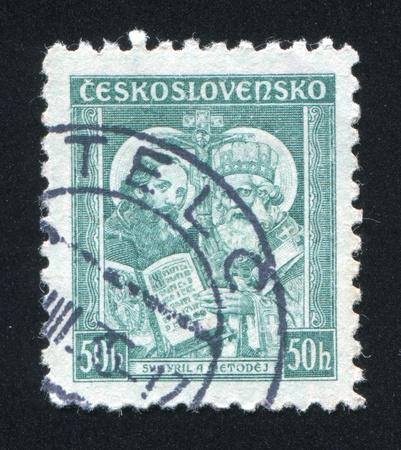 czechoslovakia: CZECHOSLOVAKIA - CIRCA 1935: stamp printed by Czechoslovakia, shows Saints Cyril and Methodius, circa 1935