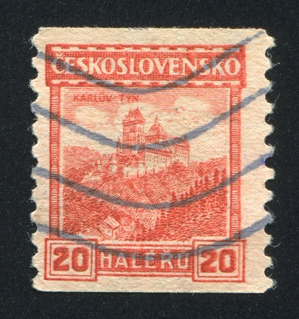 CZECHOSLOVAKIA - CIRCA 1926: stamp printed by Czechoslovakia, shows Karlstein Castle, circa 1926