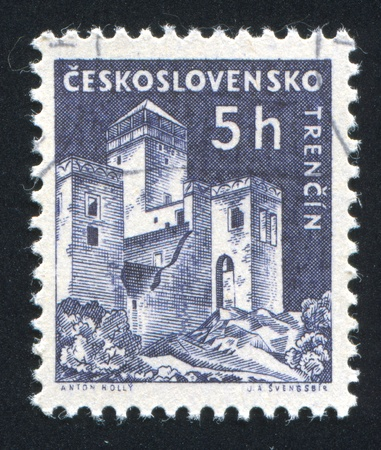 CZECHOSLOVAKIA - CIRCA 1960: stamp printed by Czechoslovakia, shows Trencin Castle, circa 1960