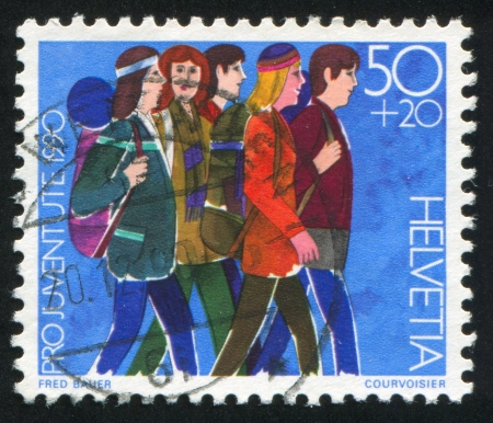 SWITZERLAND - CIRCA 1990: stamp printed by Switzerland, shows Youth groups, circa 1990 Stock Photo - 18114142
