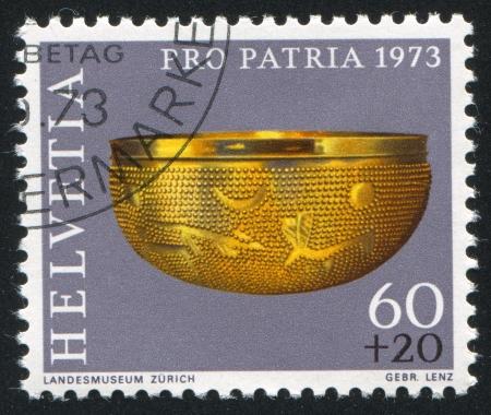 SWITZERLAND - CIRCA 1973: stamp printed by Switzerland, shows Gold bowl, circa 1973