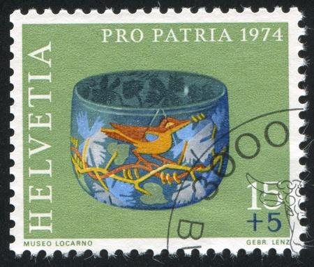 polychrome: SWITZERLAND - CIRCA 1974: stamp printed by Switzerland, shows Polychrome glass bowl, circa 1974
