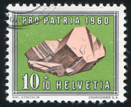 calcification: SWITZERLAND - CIRCA 1960: stamp printed by Switzerland, shows Feldspar, circa 1960