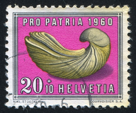 SWITZERLAND - CIRCA 1960: stamp printed by Switzerland, shows Gryphaea, fossil, circa 1960 Stock Photo - 18114203
