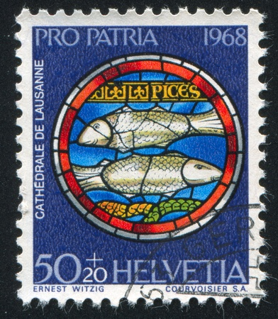 SWITZERLAND - CIRCA 1968: stamp printed by Switzerland, shows Pisces, circa 1968