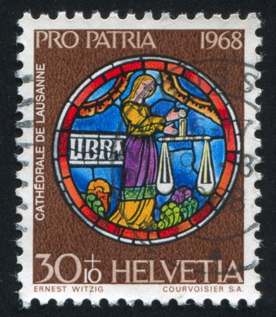 SWITZERLAND - CIRCA 1968: stamp printed by Switzerland, shows Libra, circa 1968