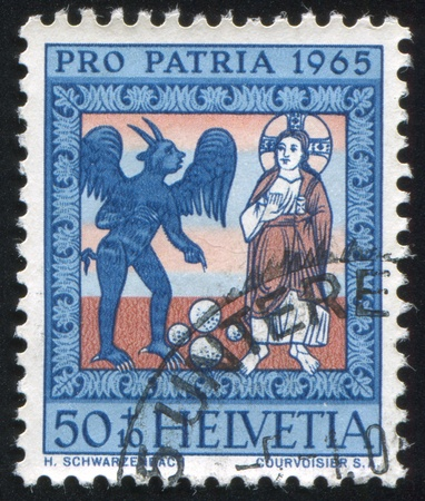 SWITZERLAND - CIRCA 1965: stamp printed by Switzerland, shows The Temptation of Christ, circa 1965