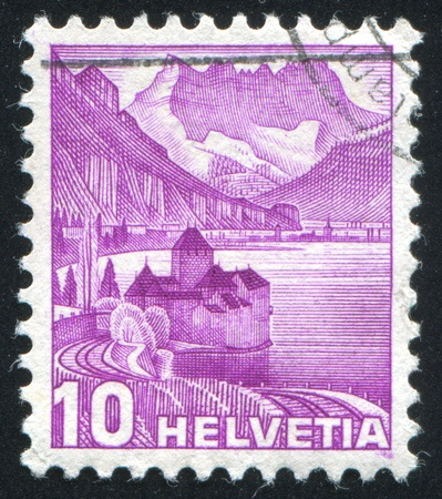 SWITZERLAND - CIRCA 1936: stamp printed by Switzerland, shows Chillon Castle, circa 1936