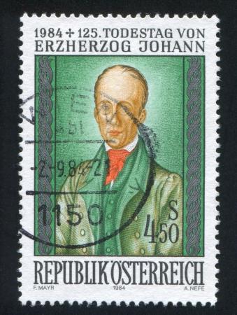 archduke: AUSTRIA - CIRCA 1984: stamp printed by Austria, shows Archduke Johann by S. von Carolsfeld, circa 1984