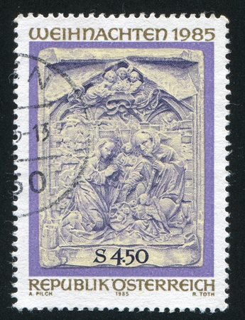 AUSTRIA - CIRCA 1985: stamp printed by Austria, shows Creche, Marble Basrelief, circa 1985
