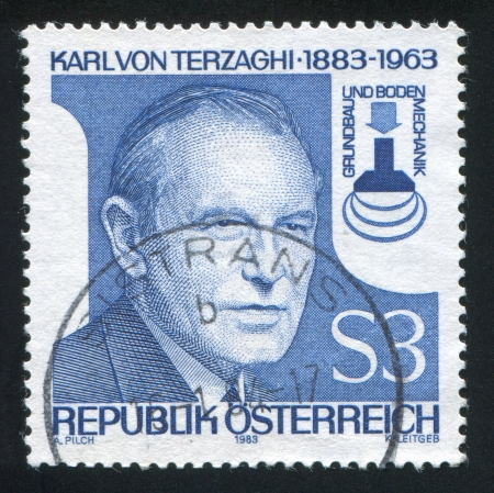 AUSTRIA - CIRCA 1983: stamp printed by Austria, shows Karl von Terzaghi, circa 1983 Stock Photo - 18329579
