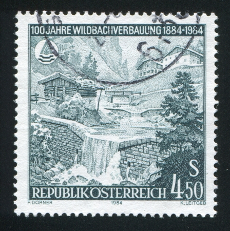 AUSTRIA - CIRCA 1984: stamp printed by Austria, shows Stone reinforcement wall, circa 1984