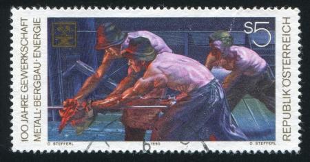 steelmaker: AUSTRIA - CIRCA 1990: stamp printed by Austria, shows Metalworkers, circa 1990