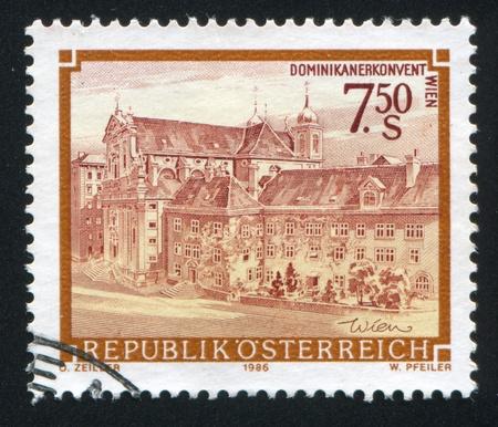 window seal: AUSTRIA - CIRCA 1986: stamp printed by Austria, shows Dominican convent in Vienna, circa 1986 Editorial