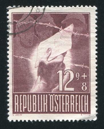 pokey: AUSTRIA - CIRCA 1947: stamp printed by Austria, shows Prison camp visitor, circa 1947