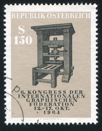 AUSTRIA - CIRCA 1964: stamp printed by Austria, shows Old printing press, circa 1964